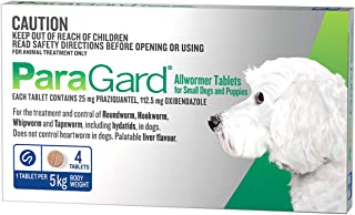 Paragard Allwormer 4 Tablet for Small Dogs and Puppies, 4 Count