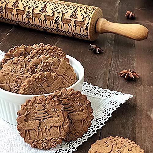 Cooljun Teigroller mit Prägung Weihnachten Elch Mustern Prägerolle Holz Backzubehör Stabil & langlebig Küche Werkzeug (43cm, A)