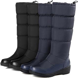UMIZORA ふわふわダウン ダウンブーツ スノーブーツ 撥水加工/防寒 履き口ドローコード もこもこ裏ボア レディースブーツ 白/黒/ブルー