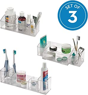 iDesign Med+ Plastic Bathroom Medicine Cabinet Organizers for Toothbrushes, Contact Lenses, Medical, Cosmetics, Makeup Brushes, Craft Supplies, Set of 3 Unique Pieces, Clear