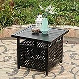 PHI VILLA Outdoor Patio Umbrella Side Table Base Stand with 1.57' Umbrella Hole for Garden,Pool Deck - Black