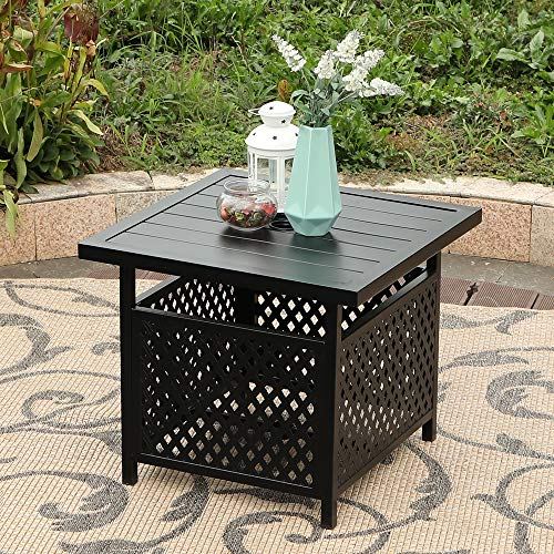 "PHI VILLA Outdoor Patio Umbrella Side Table Base Stand with 1.57"" Umbrella Hole for Garden,Pool Deck - Black"