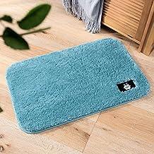 Bathroom Pure Color Velvet Bath Rug Pad Foot Pad Carpet Waterproof Mat Bath Mat-Blue for Kitchen Indoor Rugs Bathroom Mats
