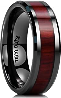 Nature 7mm Black Ceramic Ring Koa Wood Inlay Wedding Band High Polished Finish Comfort Fit