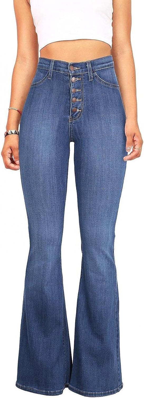 LEIYAN Womens Bell Bottom Jeans Casual High Waist Slim Fit Wide Leg Yoga Bootcut Stretchy Flared Denim Pants