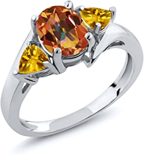 Gem Stone King 2.00 Ct Oval Ecstasy Mystic Topaz and Citrine 925 Sterling Silver Women's Ring (Available 5,6,7,8,9)
