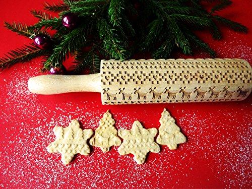 Nudelholz Teigrolle mit Skandinavisches Weihnachtsmuster. Weihnachtliche Lebkuchen