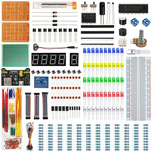 IZOKEE Upgraded Elektronik Starter Kit mit Tutorials - PCB Board Set + Stromversorgungsmodul + Digital Tube LED Display Modul + Widerstände Breadboard + Jumperkabel Komponente Sortiment für Arduino