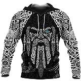 Viking Hoodies,Tattoo Zip Up Hoodie Odin's Eye with Raven 3D Printed Mens Hoodies Harajuku Streetwear Pullover Unisex Casual Jacket,Hoodies,XL