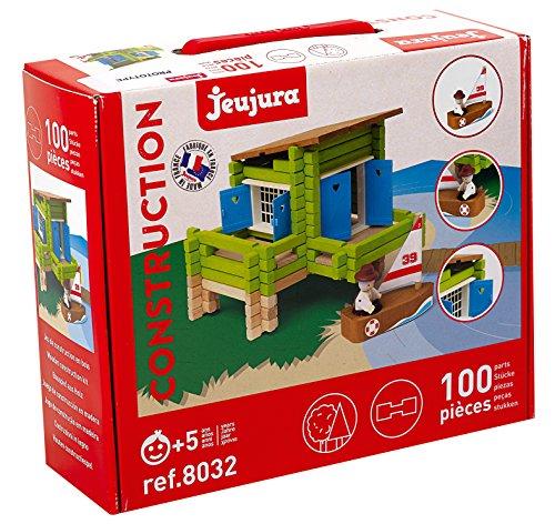 Jeujura J8032 100 Stück Holzhaus auf Stelzen in Box, merhfarbig