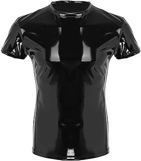 MSemis Men's Shiny Metallic PVC Leather Short Sleeve Tank Top Muscle Tight Tee Shirts Clubwear