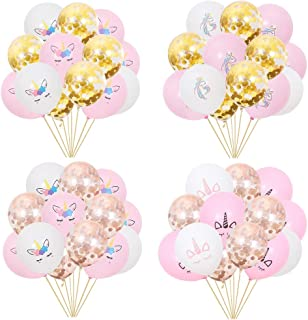 60Pcs Unicorn Birthday Balloons Party Decorations 12 inches White,Pink,Confetti Gold and Rose Gold Latex Balloons for Party Supplies Favor
