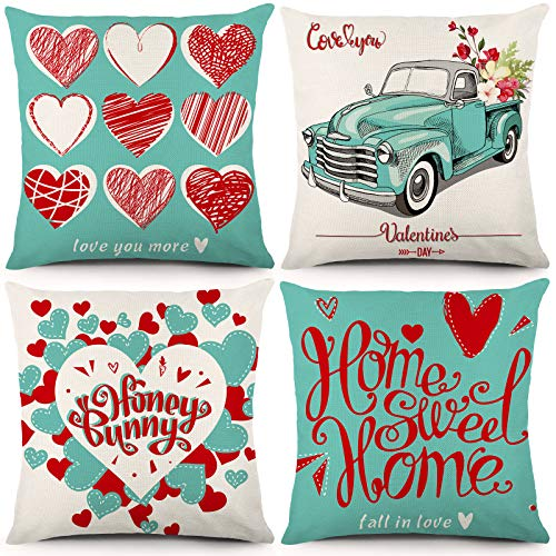 YGEOMER Valentine's Day Pillow Covers 18×18 Inch Set of 4 Pieces of Turquoise Pillow Case Festival Anniversary Wedding Cushion Pillow Case Valentine's Day Decorations Throw Pillow Covers