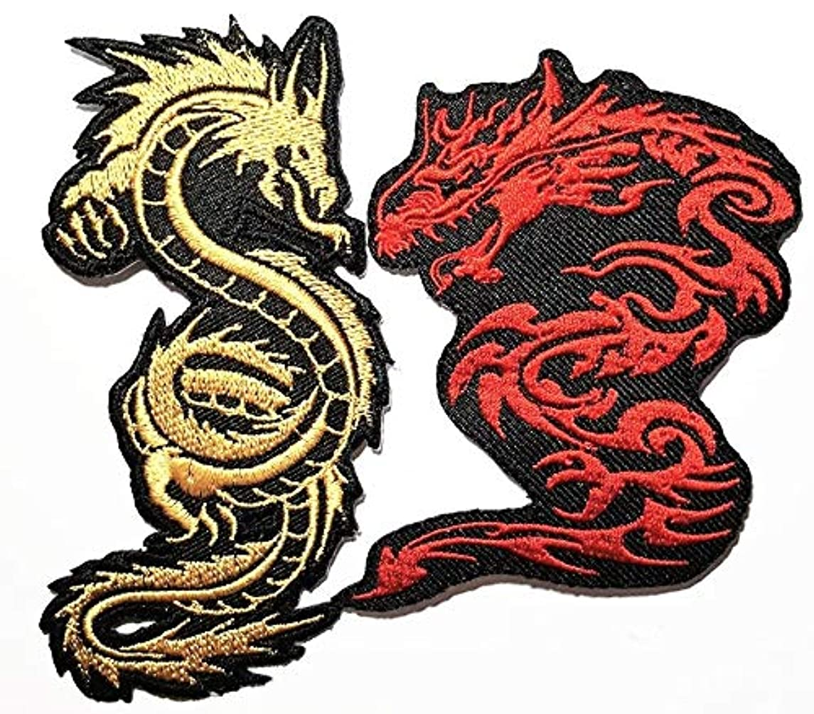 2 pieces Chinese Japanese Dragon Lucky Animal Band Logo Patch Sew Iron on Embroidered Badge Sign Costume Gift