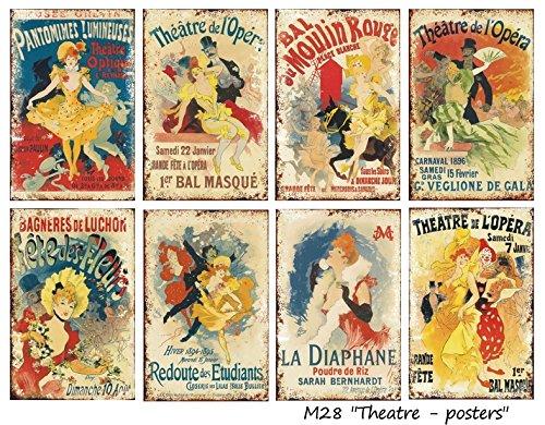 Paper Moon - Scrapbooking carta di lusso 10.5cm x 7cm x 8 fogli - Theatre Posters