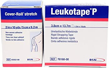 Leukotape P 1.5-Inch x 15-Yds & Cover-roll Stretch 2-Inch x 10-Yds Combo Pack (One Roll Each)