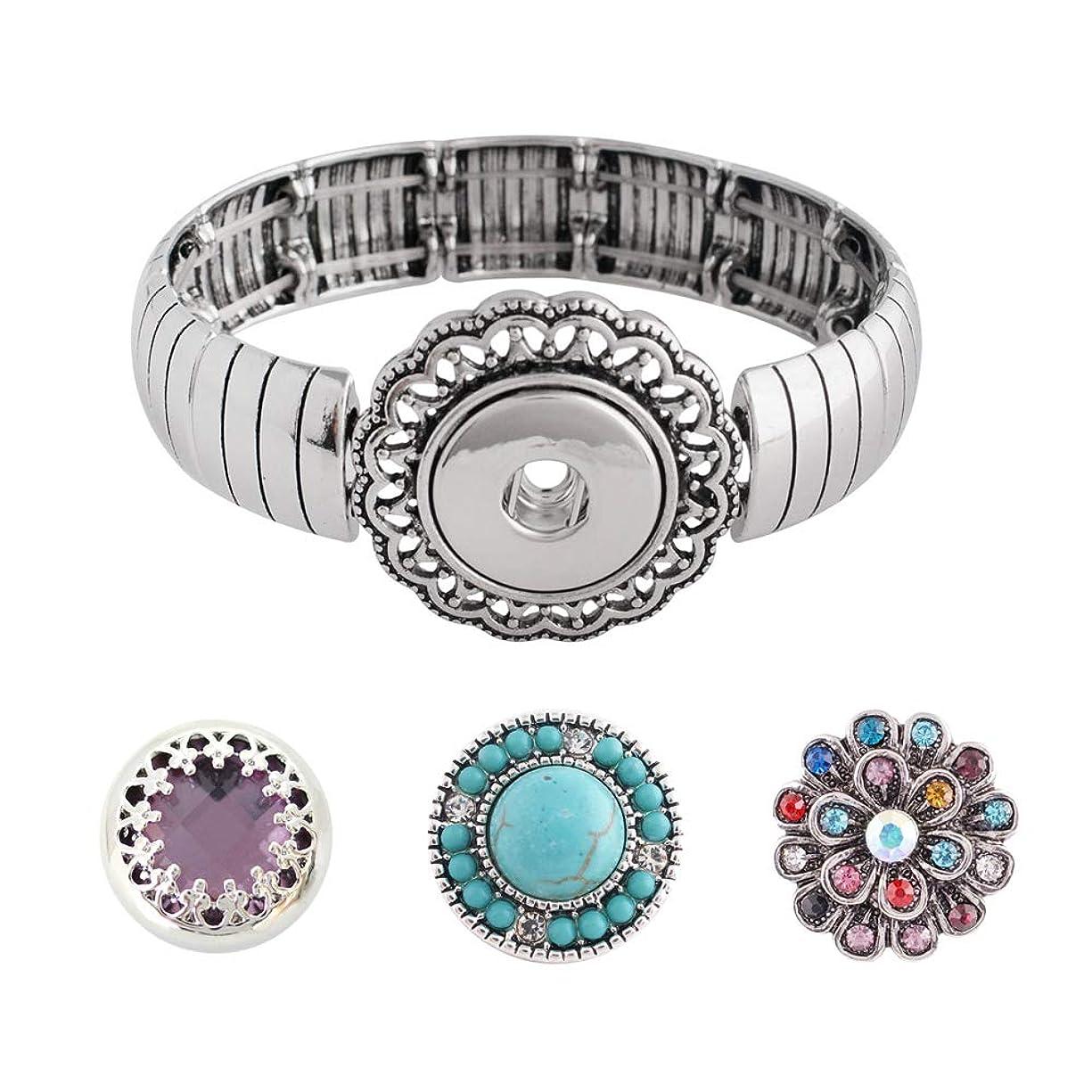 Snap Charm Metal Stretch Bracelet Includes 3 Standard Snaps Shown