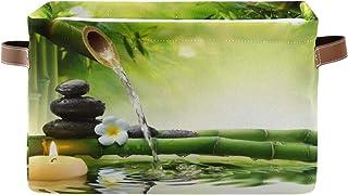 funnyy Panier de rangement japonais zen en bambou avec poignées pliables pour chambre d'enfant ou chambre d'enfant