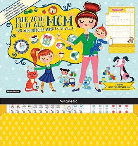 Orange Circle Studio 17-Month 2016 Do It All Magnetic Wall Calendar, Mom's Do It All