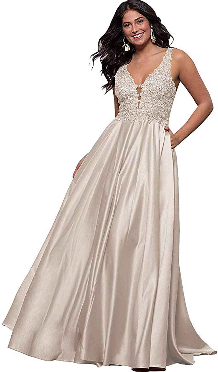 Stylefun Women V Neck Prom Dresses Long A Line Lace Satin Formal Evening Gowns with Pockets HD29