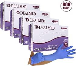 Dealmed Brand Nitrile Medical Grade Exam Gloves, Disposable, Latex-Free, Case of 800 (Medium)