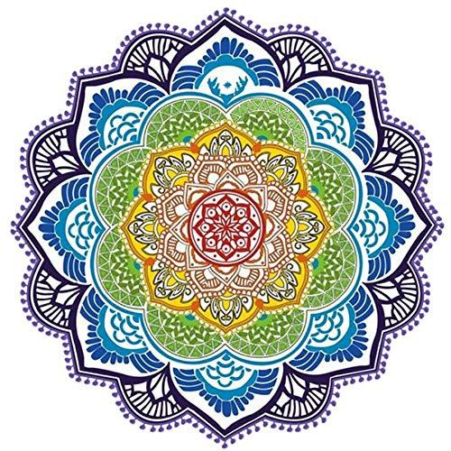 FNB Strandtuch Quaste Yoga Matte Teppich, Tapete Fußmatte Wandteppich Indische Mandala Decken Bad Teppich, Camping Matratze, 02, Durchmesser 150cm