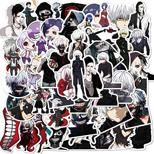 Calcomanías de anime japonés Tokyo Ghoul para portátil, guitarra, equipaje, nevera, monopatín, coche, impermeable, 50 unidades
