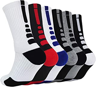 Thick Protective Sport Cushion Elite Basketball Compression Athletic Socks for Boy Girl Men Women (Pack of 3-6)