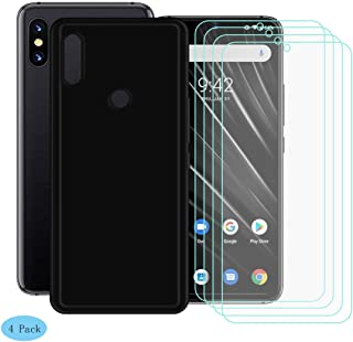 YZKJ Case for UMIDIGI S3 Pro Cover + [4 Pack] Screen Protector Tempered Glass Protective Film - Flexible Soft Gel Black TPU Silicone Protection Case for UMIDIGI S3 Pro(6.3