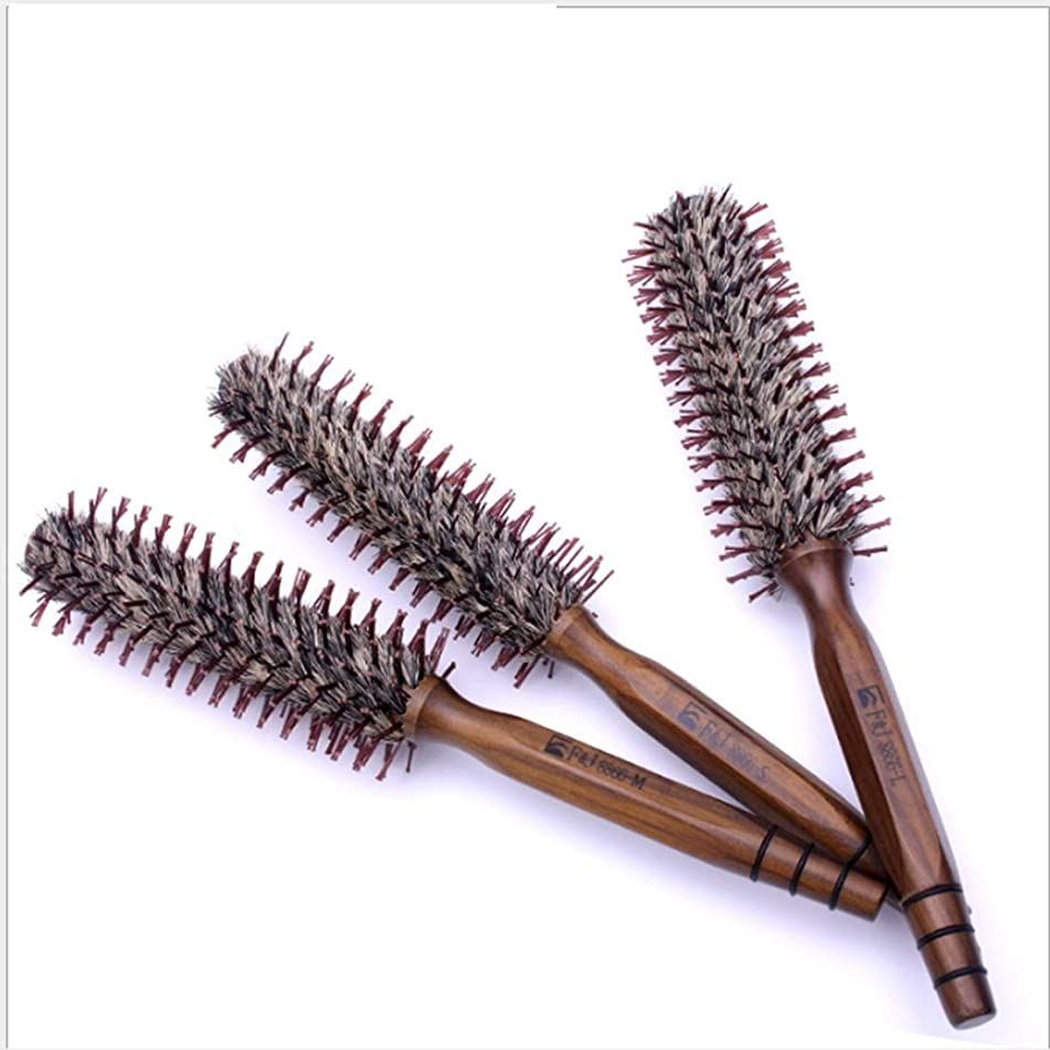 Natural Boar Bristles Round Hair Brush with Wood Handle, Round Comb Straight Line 11 Inch Length, Styling Essentials for Hair Drying, Styling Shears (Size : S)