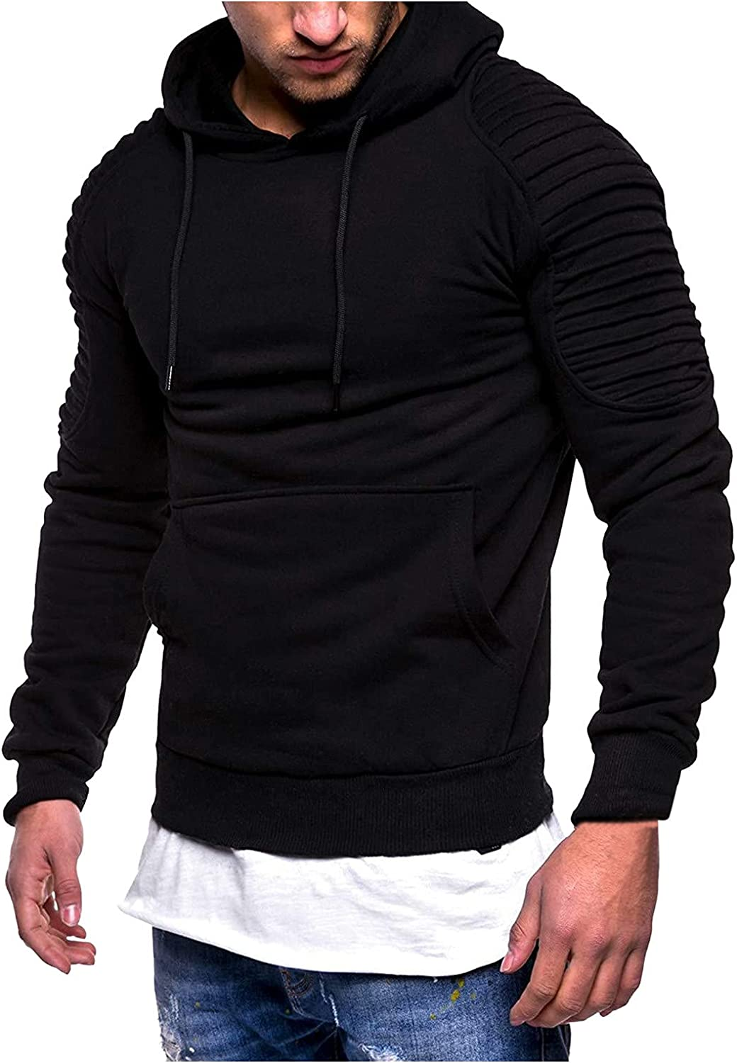 XXBR Pleated Hoodies for Mens, Fall Solid Drawstring Hooded Sweatshirts Slim Fit Athletic Casual Pullover with Pocket