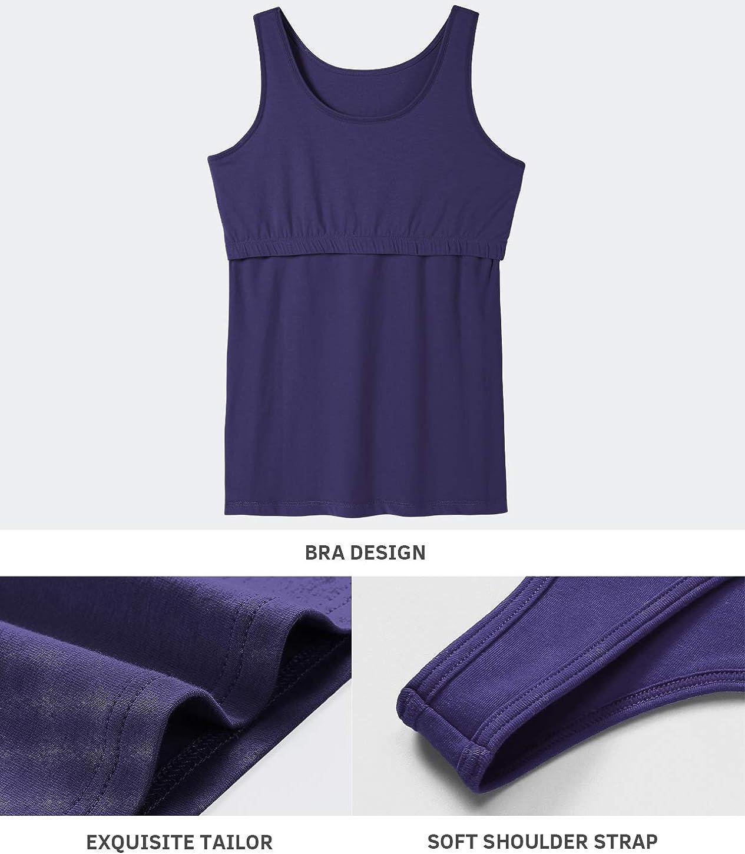Vislivin Cotton Tank Tops with Shelf Bra for Women Stretch Tanks Wide Strap Undershirts