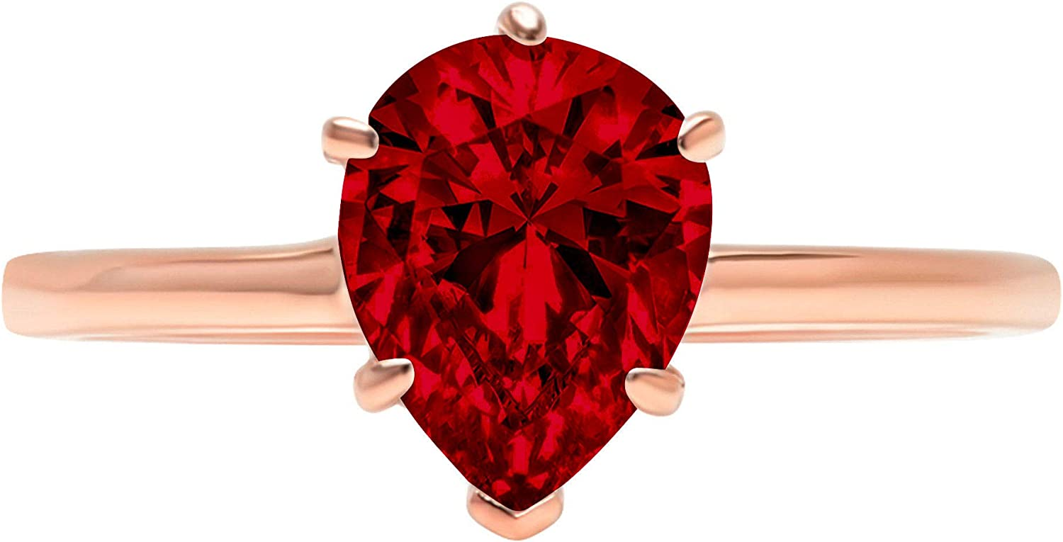 1.0 ct Brilliant Pear Cut Solitaire Natural Deep Pomegranate Dark Red Garnet Gemstone Ideal VVS1 6-Prong Engagement Wedding Bridal Promise Anniversary Ring Solid Real 14k Rose Pink Gold for Women