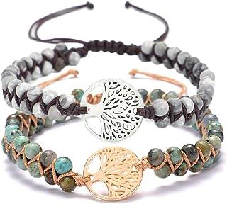 GOODCHANCEUK - Braccialetto per yoga con pietra naturale, fatto a mano, 2 pezzi, braccialetto dell'amicizia con turchese a...