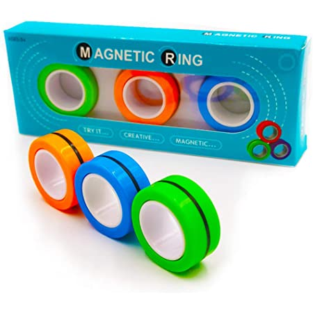 6 Rings Magnetic Fidget Finger Spinner for Kids Adult Bracelet Bearing Ring Unzip Toy Stress Relief Reducer Spin for Autism ADHD Decompression Artifact Toys for Children Adult Green