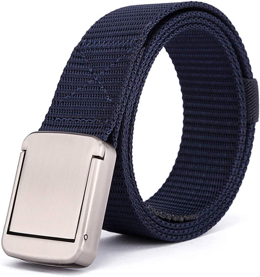 Yefree Cinturón de lona de nylon para hombres y mujeres al aire libre estilo militar hebilla de seguridad estilo militar lienzo tejido cinturón de malla cinturón ajustable