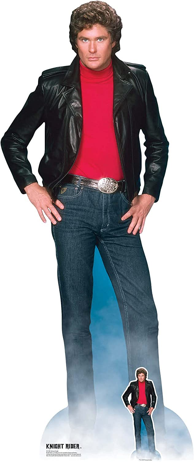 STAR CUTOUTS SC1381 Michael David Hasselhoff Knight Rider Lifesize Cardboard Cutout with Free Mini Standee Perfect for 80s Parties, Fans and Events 190cm/6ft Tall, One Size