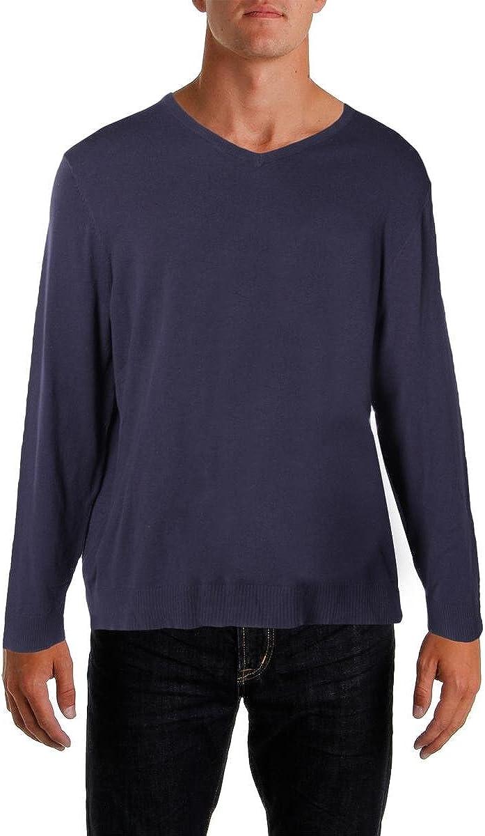 Alfani Mens Long Sleeves V-Neck Pullover Sweater Purple L