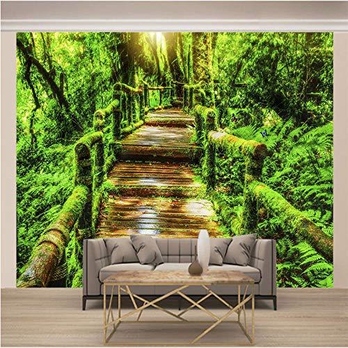 Papel Pintado Mural Puente De Madera Selva Verde 350x250cm/138x98.5In(Wxh) Papel Tapiz Fotográfico Murales Grandes Sofá Dormitorio Moderno Pintura Mural Decoración Para El Hogar