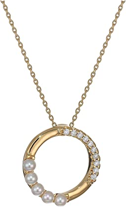 "16-18"" 4 mm Pirouette Round Pearl Pendant Necklace in Gold Plated Silver"