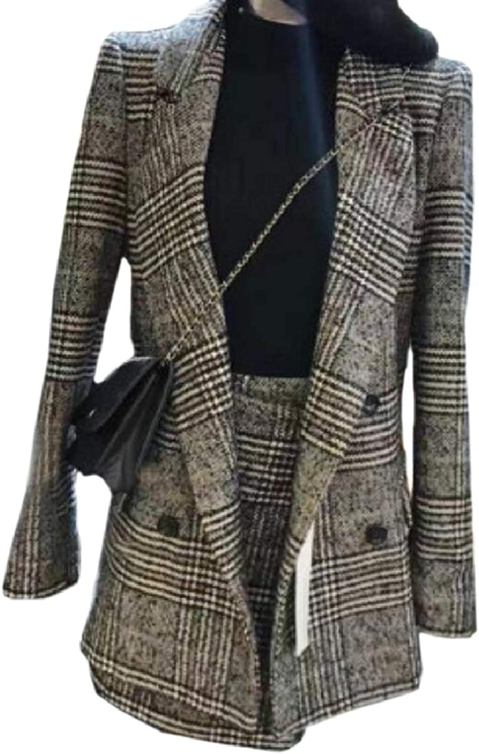 CBTLVSN Women's Lapel Dress Houndstooth Plaid Blazer Double-Breasted Coat Set