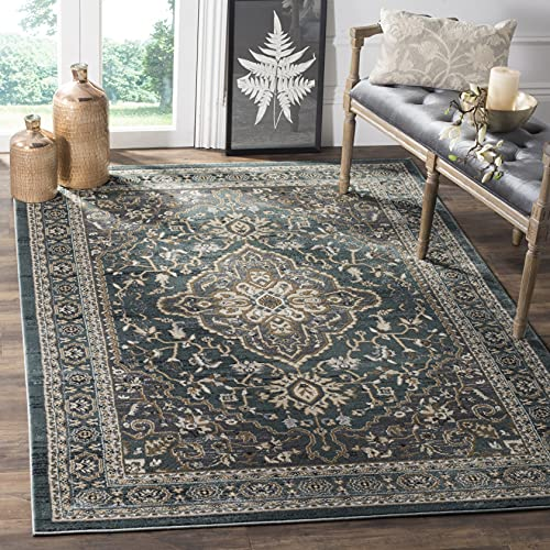 Safavieh Lyndhurst Collection LNH338A Traditional Oriental Non-Shedding Stain Resistant Living Room Bedroom Area Rug, 6' x 9', Teal / Grey