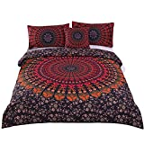 Sleepwish 4 Pcs Bohemian Bedding Sets Full Bedspread Comforter Cover Set Hippie Bed Covers Boho Chic Red Bedspread