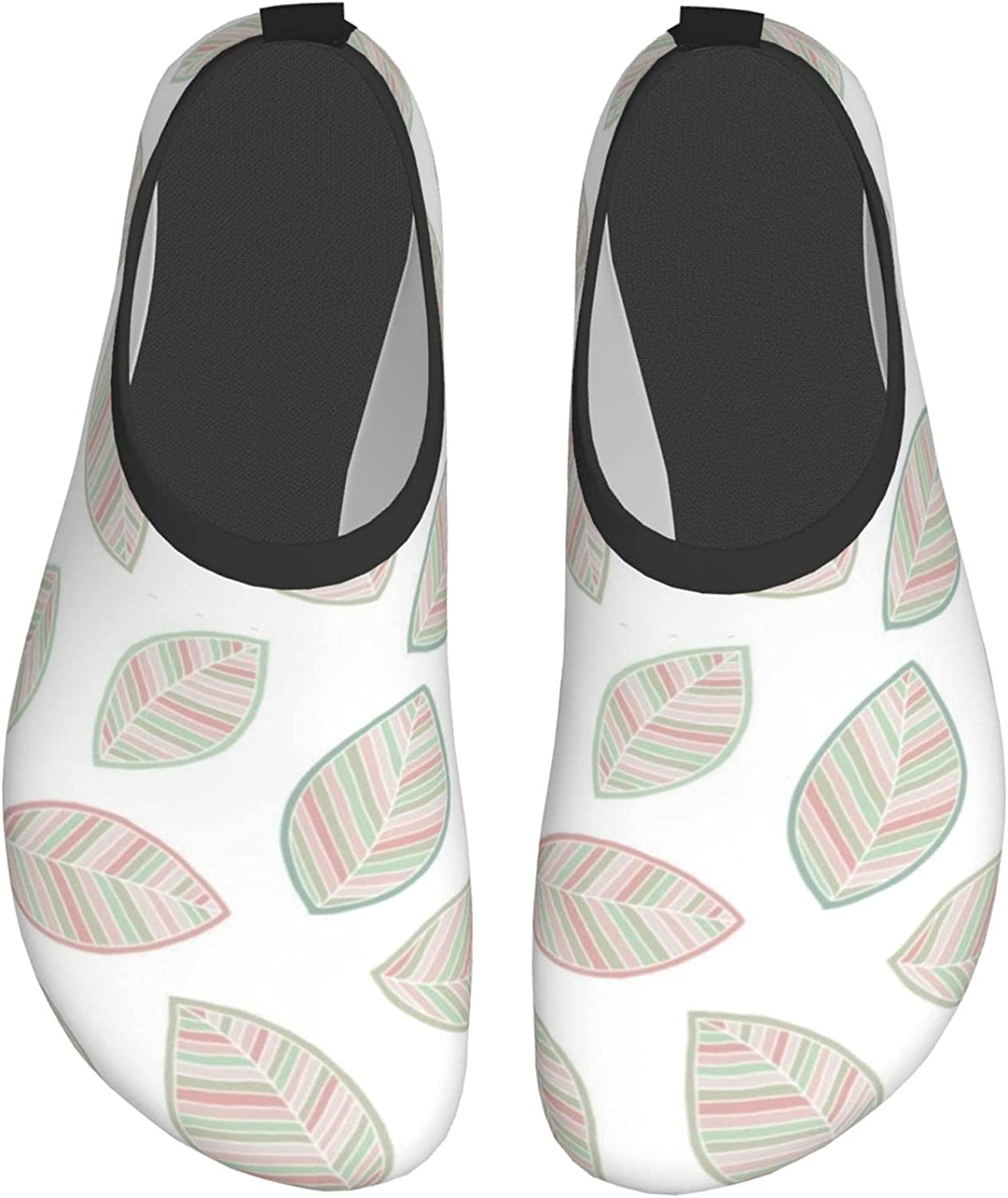 Hand Drawn Leaves Water Shoes for Womens Mens Barefoot Quick-Dry Aqua Socks for Beach Swim Surf Yoga Exercise New Translucent Color Soles