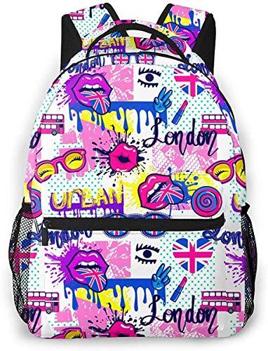 Beso Labios Lengua Bandera Británica Autobús Mochila Escolar Adolescentes Niñas Niños Niños Mochilas Escolares Mochila