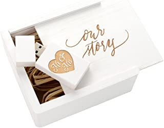 Wedding White 2.0 USB Flash Drive - Inserted into a Engraved Matching Box with Raffia grass inside. Laser Engraved