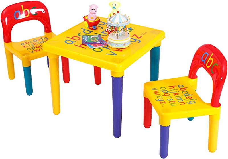 Costzon Kids Table And 2 Chair Set Alphabetic Letter Table Furniture For Toddlers Lightweight Colorful Appearance Learn The Letters While Playing Perfect Gift For Boys And Girls Education Learn