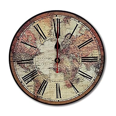 iCasso 12  Vintage France Paris Colourful French Country Tuscan Style Non-Ticking Silent Wood Wall Clock (12 inch World Map)