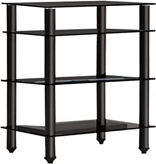 Artiss 4-Tier Media Rack Tempered Glass TV Stand for AV Components Console TV Box Xbox One PS4
