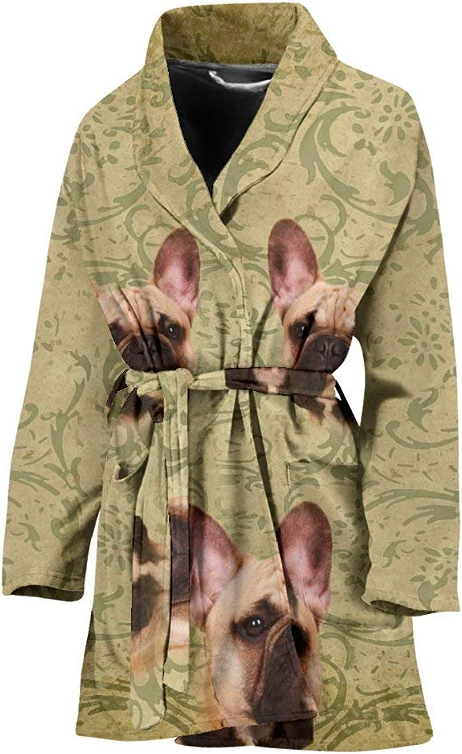 Deruj Cute French Bulldog Print Women's Bath Robe